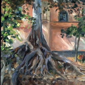 "Moreton Bay Fig at Balboa Park.  9 x 12"" oil on board."