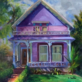 "Purple House, University Heights.  12 x 12"" oil on board."