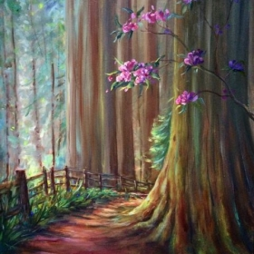 "The Redwoods of Eureka.  18 x 24"" oil on board."