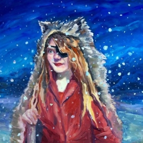 "The Wolf Girl.  18 x 24"" oil on board."