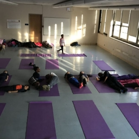 Yoga Club spells out LOVE on Valentines Day