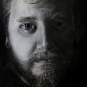 An example of large scale photo realism and oil paint. Jared, 73 x 84 in, oil on Canvas, 2011