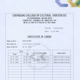 Employment certification as Professor of Computer Graphic Design at Chungkang College of Cultural Industries.