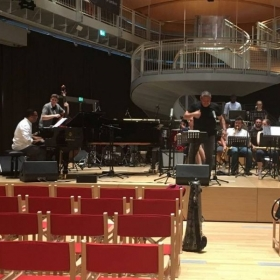 Soundcheck in Milan, Italy for JMI Big Band performance featuring Gonzalo Rubalcaba