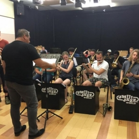 Rehearsal in Zagreb, Croatia with the JMI Big Band led by Luis Bonilla