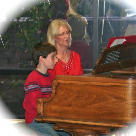 Playing a duet at a recital with one of my students at a retirement center in Scottsdale, Arizona