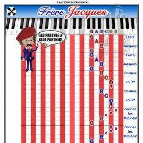 Frere Jacques, from the French Language Partner Songs Set. Each partner plays Red or Blue! No partner? Play along with the Partner video!