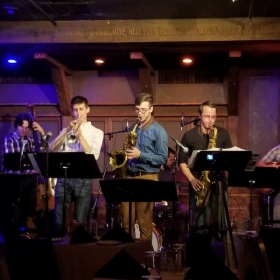 The horn players in my group: Ghost House, at a performance in Chris' Jazz Cafe in Philadelphia.