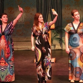 "A modern version of ""The Mikado"" with Oswego Opera Theater.  Haley Marie Vick as Yum-Yum (center)."