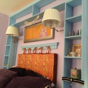 A fun and funky way to create a headboard where there isn't one.