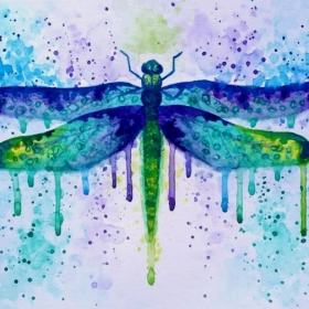 My own watercolor dragonfly painting. I love experimenting with drips and splatters!