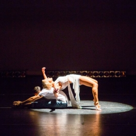 Performing Contemporary/Latin Fusion choreography with her partner.