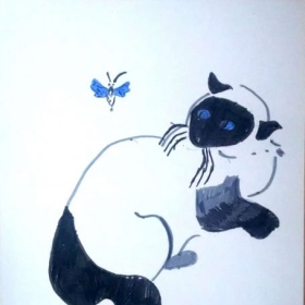 Student: Michael K. (Age 10) Study of a Siamese cat using color markers.