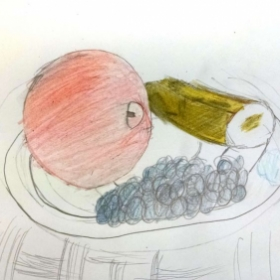 Student: Trinity H. (Age 11) Fruit bowl stillife using color pastels.