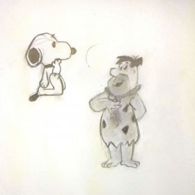 Student: Trinity H. (Age 11) 10 Minute Gesture drawing of Snoopy and Fred Flintstone.