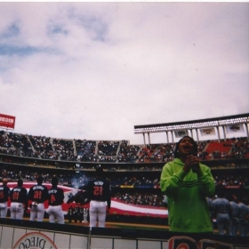 Singing the National Anthem at Qualcomm Stadium for Championship baseball game.