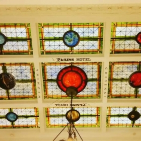 The Plains Hotel located in Cheyenne Wyoming, has a solar system depiction that was finished in 1912.