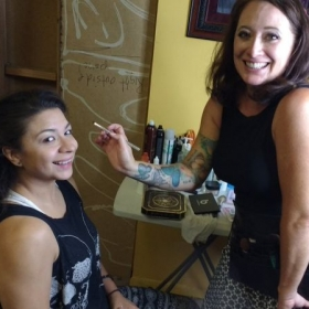 On set of BEARLY film doing the makeup of beautiful Latina actress Gia Gerardo