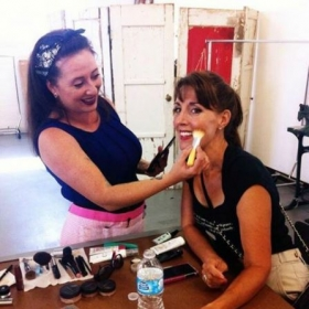 Las Vegas fashion students getting runway makeup lessons