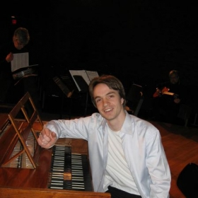 At the harpsichord in Akron, OH