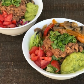 Fajita Bowls with Smoky Refried Beans