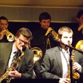 Performing with one of Temple University's jazz bands on lead trumpet