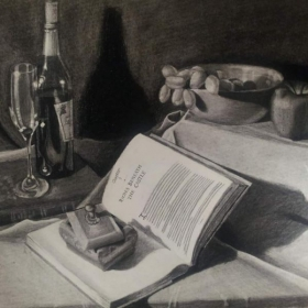 "Still life, charcoal ""Wine and Grapes"""