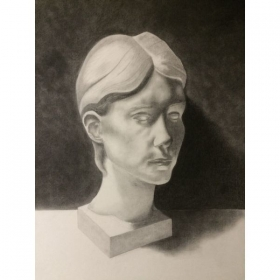 "18"" x 24"". Charcoal Bust Study."