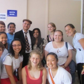 With students on a field trip to the National Assembly in El Salvador, meeting a senator.