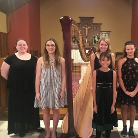 Winter harp studio recital, with a group of my students