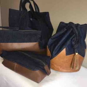 Denim and leather bags