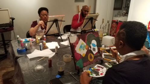 Having fun at my 1/20/18 paint party.