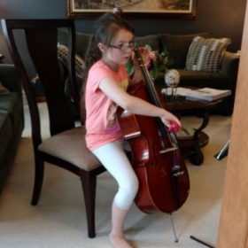 One of my cello students.  She maybe small, but she can play.