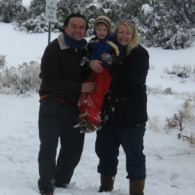 Having fun in the snow with my family!