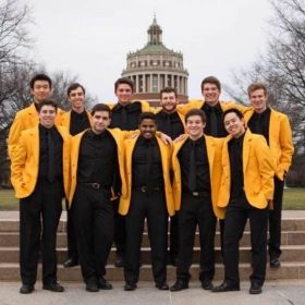The YellowJackets in front of Rush Rhees in fall of 2015 (far left back row).