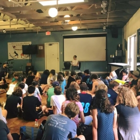 Teaching a workshop on mindfulness and self love (topics covered in my two latest books) to middle school students.