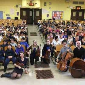 Marie with fellow NY Philharmonic Teaching Artists after our in school concert for elementary students in Queens, NY