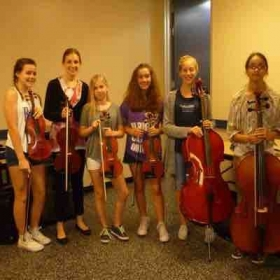Marie with students at The Woodlands Chamberfest