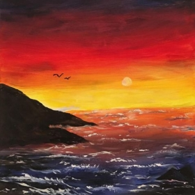 Sunset by the Sea - Acrylic