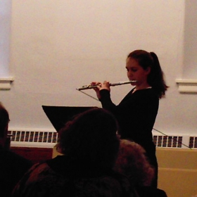 Flute student performing at the Kimmel Center.