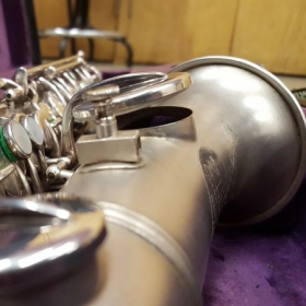 Up-close picture of my vintage soprano saxophone from the 1920s.