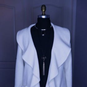 Coat made from washable fleece fabric that can be worn in the day or evening