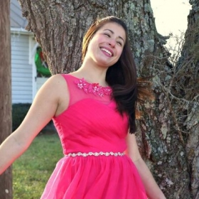 Playing outside in my new dress with my mom taking photos ha