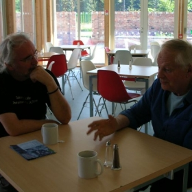 With my great mentor, Richard Williams, at the Aardman animation studio in Bristol, England.