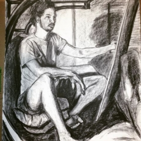 Self-portrait, charcoal on paper.