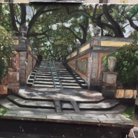 Staircase at Vizcaya, oil on canvas.