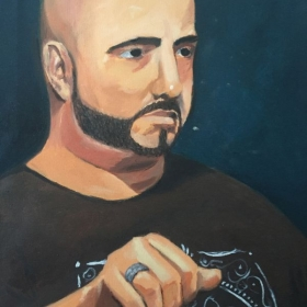 Portrait of Adrian (with hand study), oil on canvas.