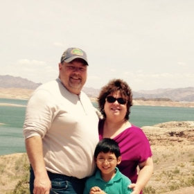 With my husband and son in Lake Mead