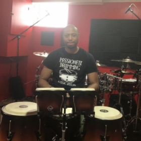 Hand percussion lessons are great in my new online and recording studio!