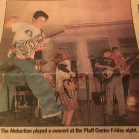 This was one of my first shows with my first bands, The Abduction! ,  started playing with a red Fender Squier Strat.